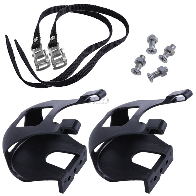 Cycling Road Bike Mountain Bike Black Toe Clips With Straps for Bicycle Pedal S20