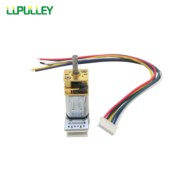 LUPULLEY Small Speed Gear DC Motor GA12 N20 with Encoder Test Code Tray 3/6/12V,15/30/50/200/300/500/1000RPM for Model Plane