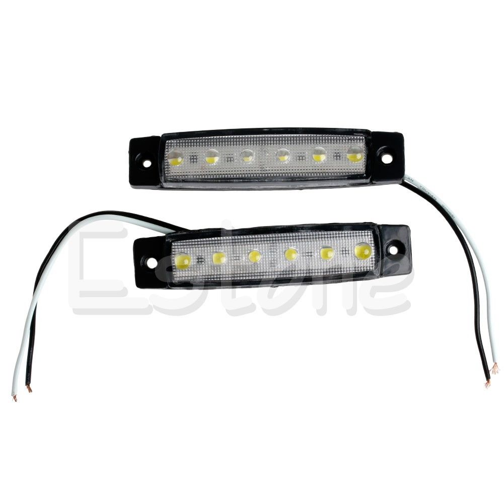 2X 6-LED Bus Van Boat Truck Trailer Side Marker Tail Light Lamp 12V White