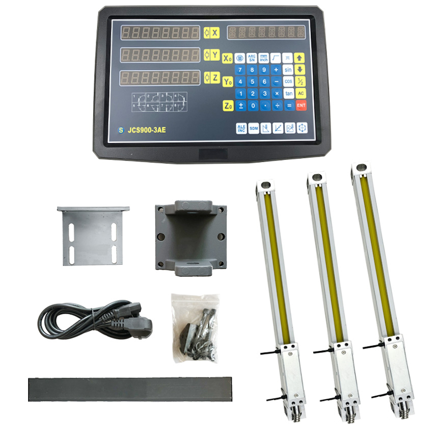 Measuring Set/Kit Dro Tools JCS900 3AE Display Screen Systems with 3 PCS Optical Glass Line 50mm to 1000mm for all Machines Level Measuring Instruments     - title=