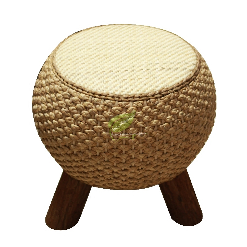 Home Rattan Shoe Bench Balcony Seat Solid Wood Sofa Chair Straw Stool Coffee Table Bedroom Stool Dotomy