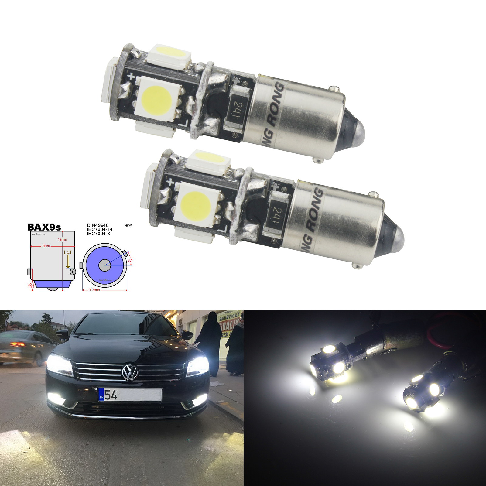ANGRONG 2X H6W 434 Bax9s Canbus Error Free 5 SMD LED Parking Side Light Bulbs Xenon White