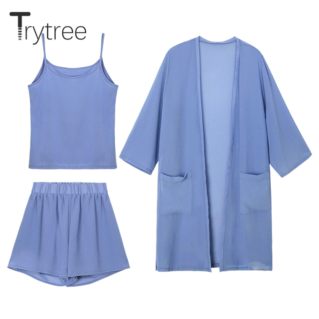 Trytree Women Summer three piece set  Casual tops + shorts +Cami Top Female Office Suit Set Women's Costumes 3 Piece Set
