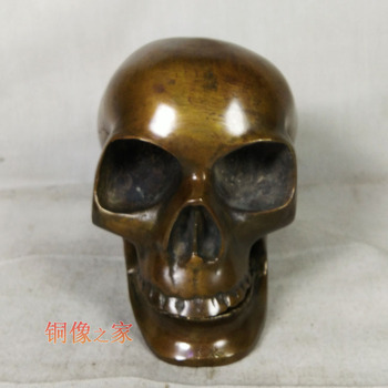 PUNK # Metal death ROCK BAR CLUB decorative exorcise evil spirits Skull Heads FENG SHUI sculpture brass statue