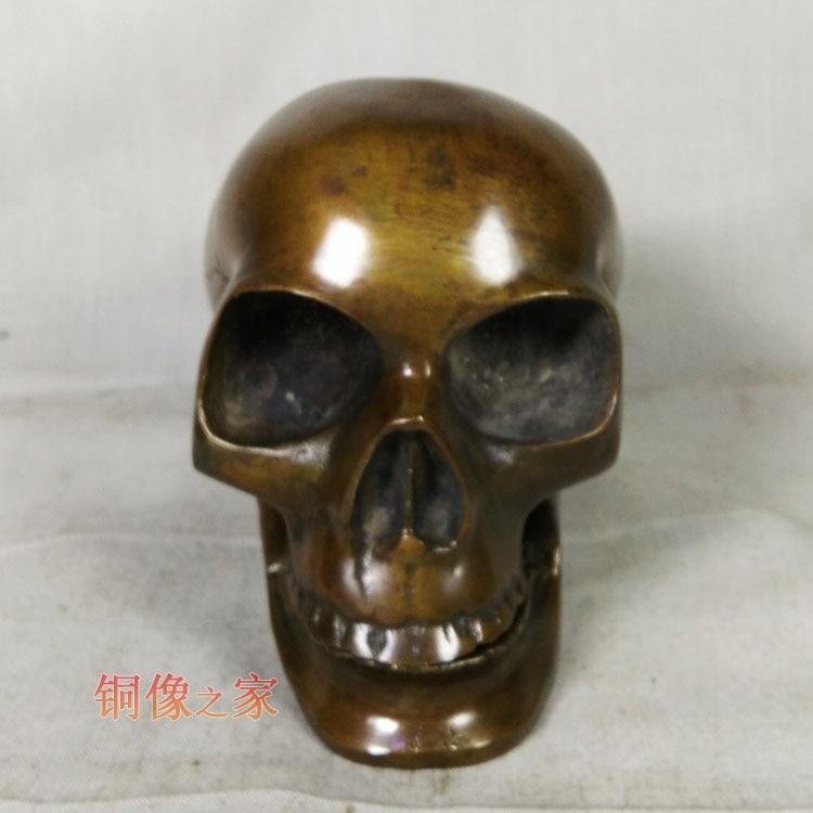 PUNK # métal mort ROCK BAR CLUB décoratif exorciser mauvais esprits crâne têtes FENG SHUI sculpture en laiton statue
