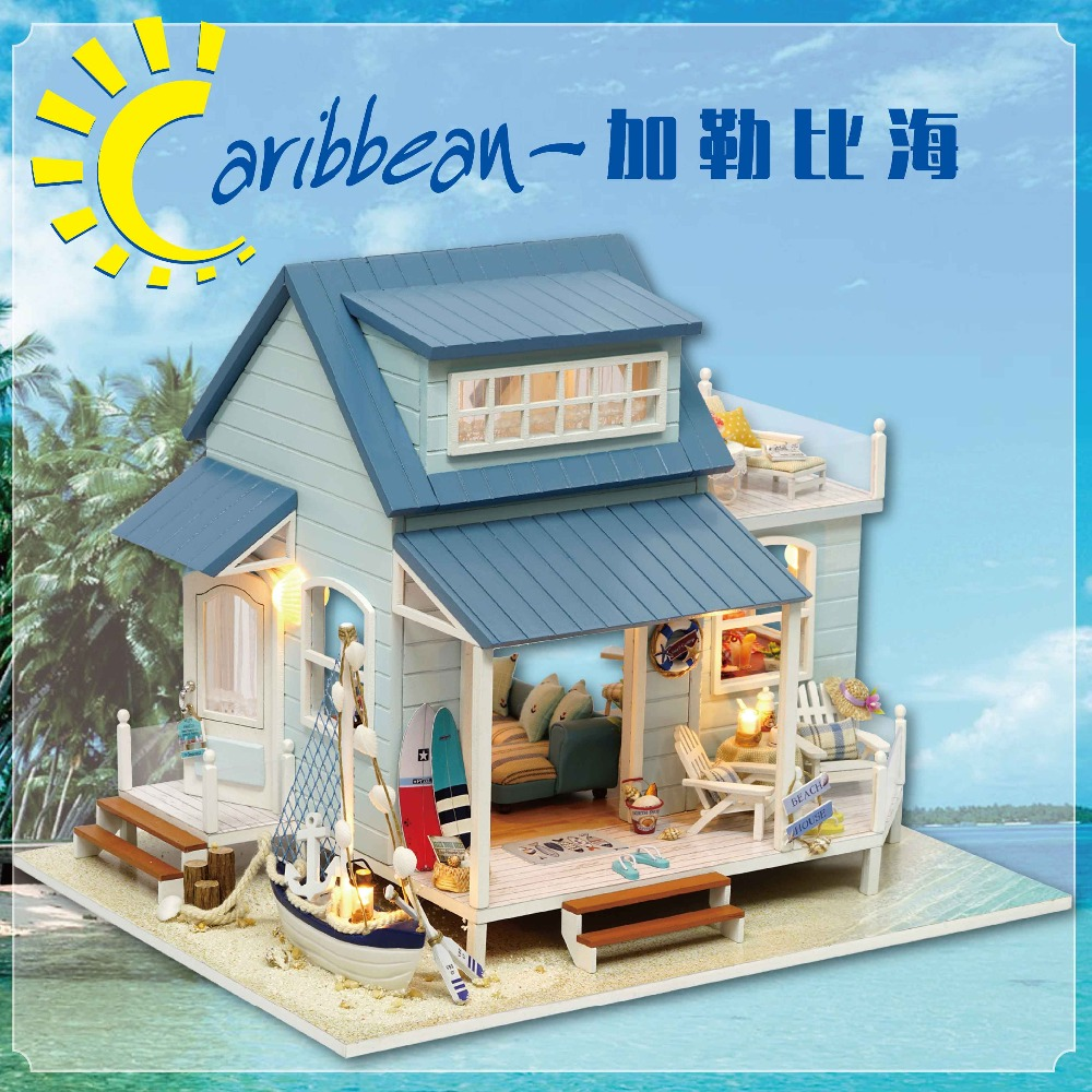 Bricolage Miniature en bois maison de poupée mer des caraïbes mignon chambre avec musique grande maison de poupée en bois jouet pour fille anniversaire cadeau de noël