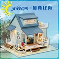 DIY Miniature Wooden Dollhouse CARIBBEAN SEA Cute Room with Music Big Doll House Toy for Girl Birthday Gift Christmas Present