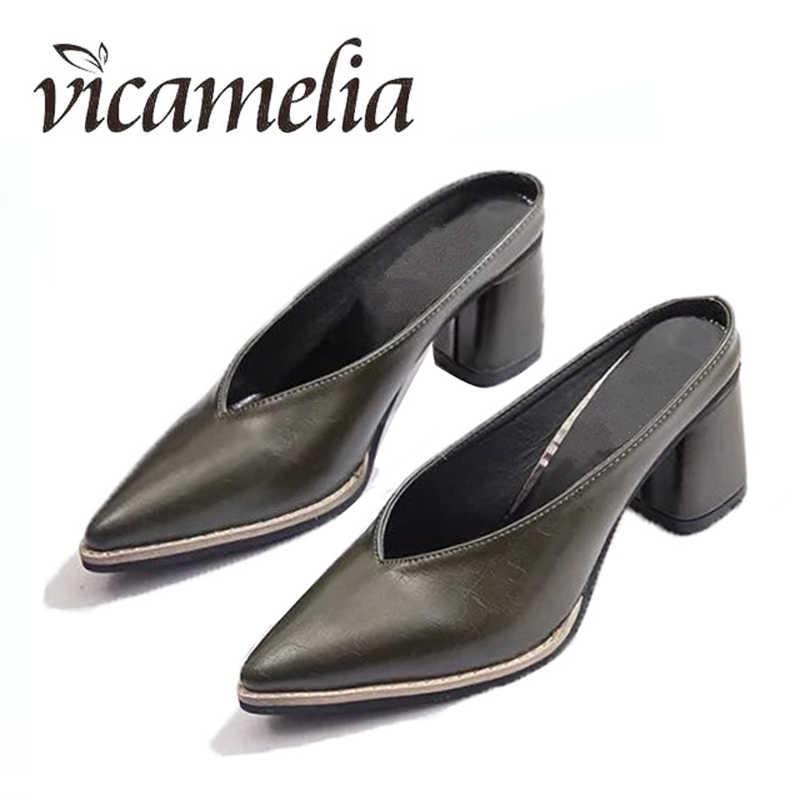 0c9f2e0de Vicamelia/Новая женская обувь на весну-лето, черные туфли-лодочки на  квадратном