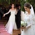 Exquist 2016 Nova Off The Shoulder Vestido de Noiva de Renda Sereia Robe De Mariage vestido de noiva Vestido de noiva Com Manga Longa Noiva