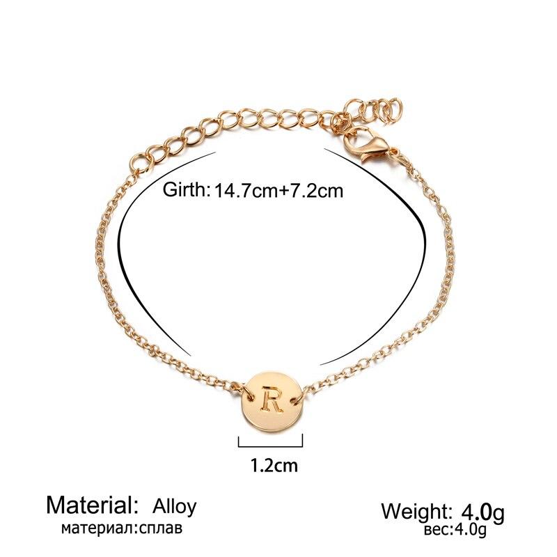 2019 Fashion Women's Bracelets Gold Colour Adjustable Metal Letters Romantic Round Bracelet Lovers Gift Party Jewelry Wholesale 1