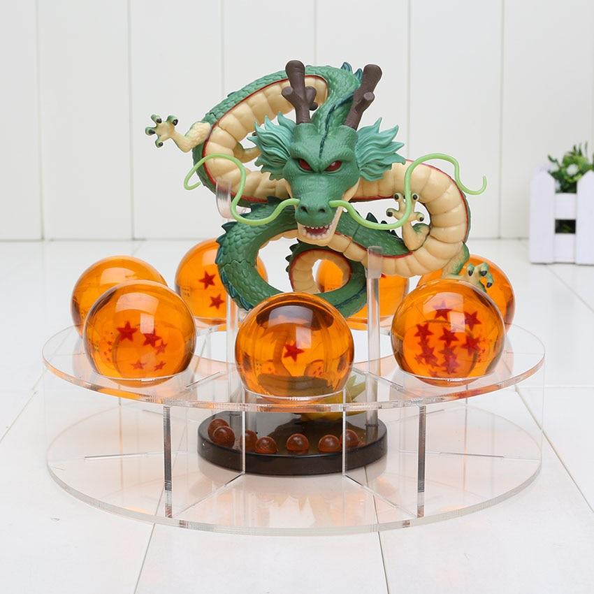 10pcs lot Dragon ball z action figures 1 figure dragon shenlong 7 crystal balls 4cm 1