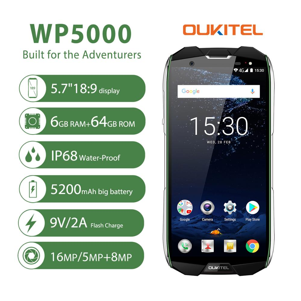 <font><b>OUKITEL</b></font> <font><b>WP5000</b></font> Smartphone IP68 Waterproof Android 7.1 Helio P25 Octa Core <font><b>6GB</b></font> RAM <font><b>64GB</b></font> ROM 5200mAh 9V/2A Mobile Phone green image