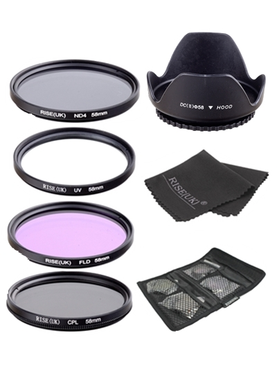 UV+CPL+FLD+ND4 Neutral Density Camera Filters Kit Optical Glass 58mm For Canon Nikon Sony Fuji DSLR≤ns hood & Gifts