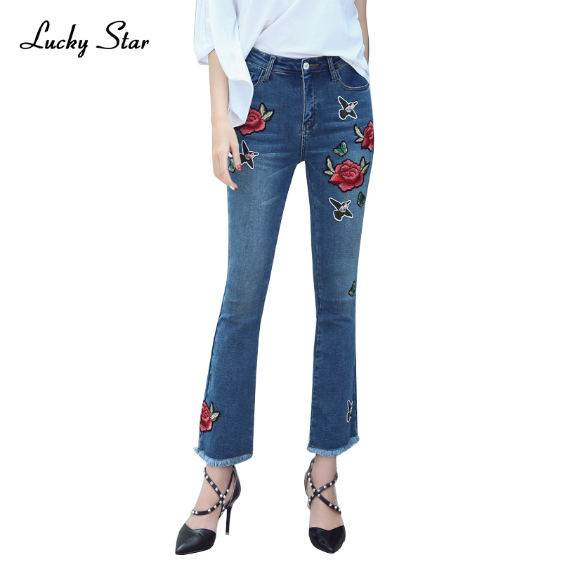 High Waist Embroidered Flare Jeans Women Cowboy Long Pants Female Slim Wide Leg Straight Denim Jeans Feminino A286 cтяжка пластиковая gembird nytfr 150x3 6 150мм черный 100шт