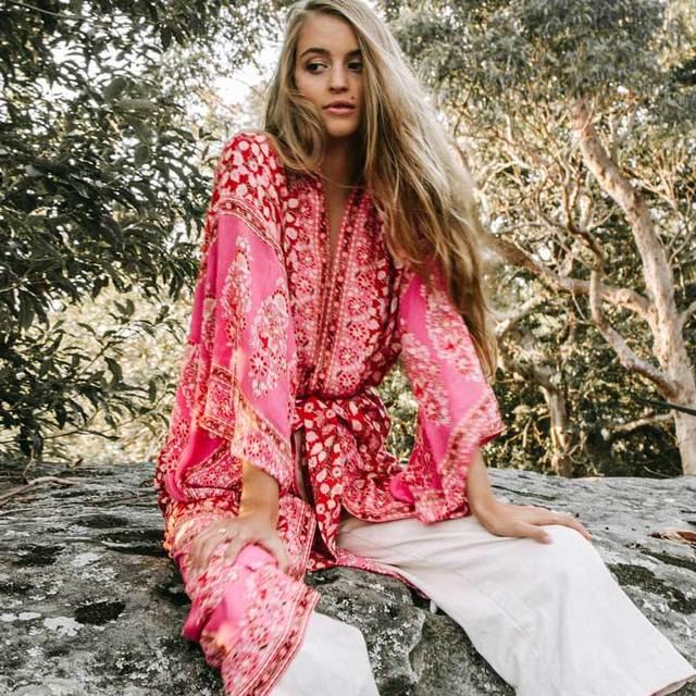 Boho Inspired Floral Maxi Kimono