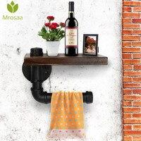 Mrosaa Bathroom Shelf High Quality Retro Iron Toilet Paper Holder Bathroom Hotel Roll Paper Tissue Hanging Rack Wooden Shelf
