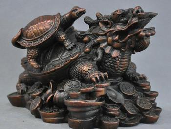 7'' China Fengshui Zodiac Dragon Turtle Walking Coins Bronze Statue