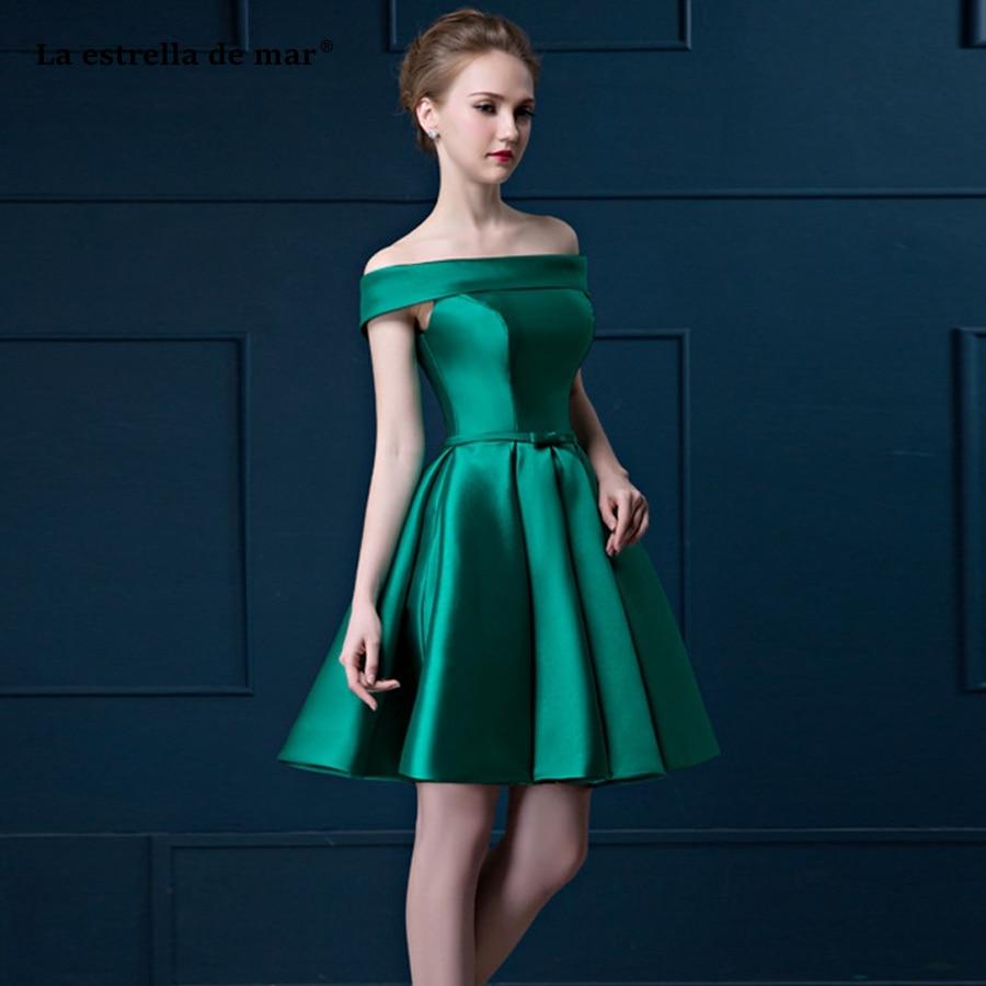 Vestido boda mujer invitada nouveau satin à l'épaule une ligne vert robes de demoiselle d'honneur courte robe de soirée de mariage