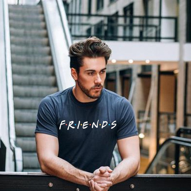 E-BAIHUI summer mens fashion t shirts friends print t shirt male Clothing Man fitness casual T-Shirts men cotton t shirt T-100
