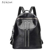 DLKLUO Female Backpack High Quality Leather Cowhide Fashion Leisure Backpack for Teenage Girls Ladies Bag Mochila Free Shipping