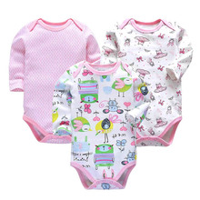 3PCS/LOT Cotton Baby Bodysuits Unisex Infant Jumpsuit Fashion Boys Girls Clothes Long Sleeve Newborn Clothing Set