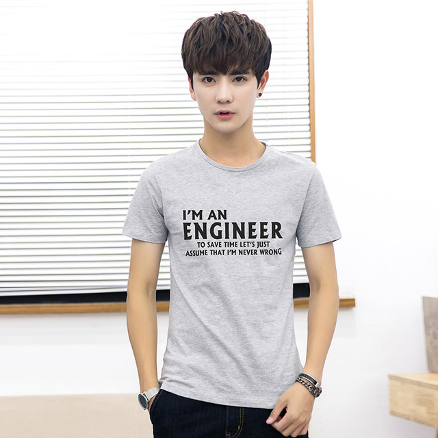 d7e1bfbddb4 Spring and Summer New Business Casual Slim Wild Refreshing Breathable  English Letters Tide Men s Round Neck Cotton T-shirt