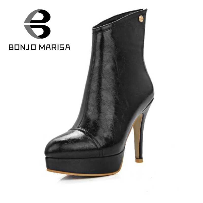 ФОТО BONJOMARISA Plus Size 34-46 Mature Women Ankle Boots Metal Charm Solid Spike High Heels Shoes Woman Back Zipper Platform Boots