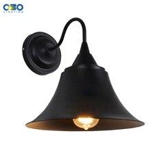 Винтажная черная железная наружная Водонепроницаемая настенная лампа штрих-код склад Проходное настенное освещение E27 держатель лампы 110-240 В