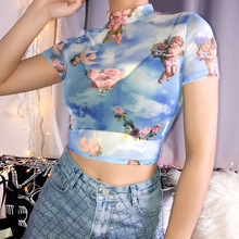 Women Tops High Neck Transparent Blouse Summer Angel Printed Short Sleeve Sexy Slim Top