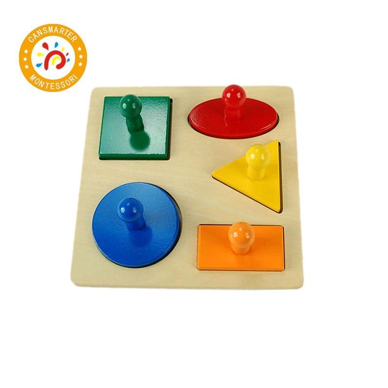 Jouets en bois montessori Enfants Jouet Sensorielle Bois Bouton Puzzles Peg Conseil Jigsaw Forme Géométrique Match Couleur Cognitive Jouet LT006