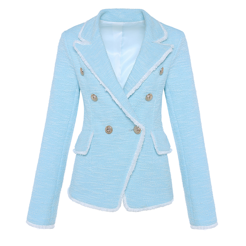 HIGH QUALITY New Fashion 2018 Designer Blazer Womens Tassel Fringe Metal Lion Buttons Double Breasted Tweed Blazer Jacket