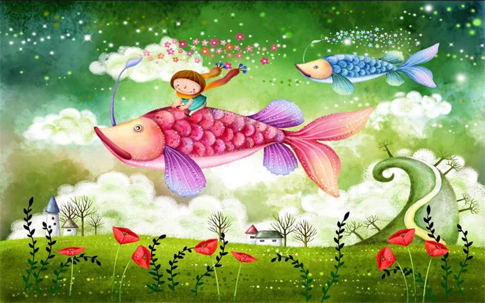 Custom 3d Photo Wallpaper Room Mural Flying Fairy Fantasy Kidsroom