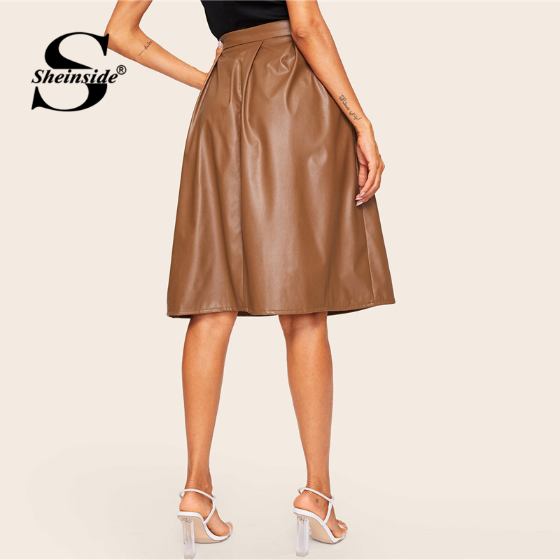 Image 2 - Sheinside Coffee Casual Mid Waist Pleated PU Leather Skirt Women 2019 Spring Solid A Line Skirts Ladies Minimalist Zipper Skirt-in Skirts from Women's Clothing