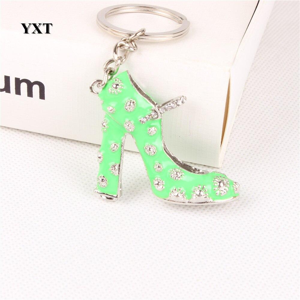 Green High-Heel Shoe Women Girl Crystal Charm Pendant Purse Handbag Car Key Keyring Keychain Creative Delicate Gift