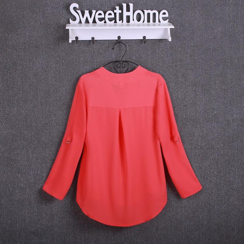HTB1BRwCKpXXXXcIXpXXq6xXFXXXp - Chiffon Blouse Shirts Women's Long Sleeve V-Neck