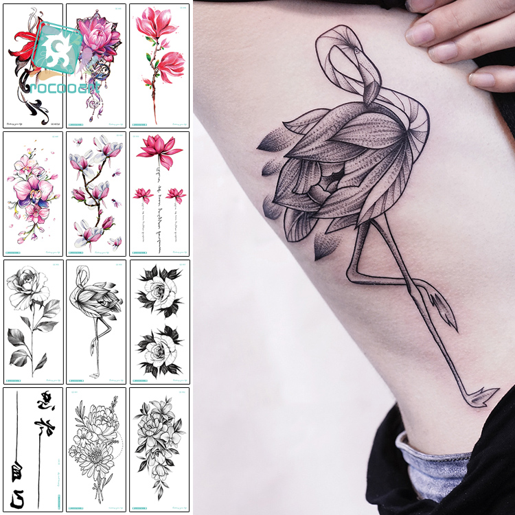 Rocooart Black Flamingo Tattoo Flower Taty Rose Fake Tattoo Orchid Lotus Tatuagem Body Art Waterproof Temporary Tattoo Stickers