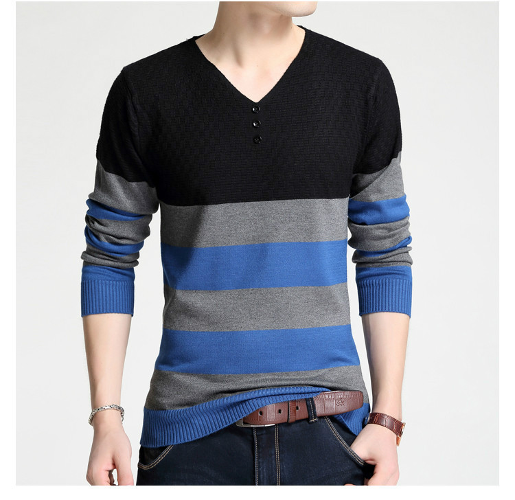 2018 New Fashion Patchwork Sweater Men Casual Wear Long Sleeve V Neck Autumn Winter Warm Mens Pullover Sweaters Men Women
