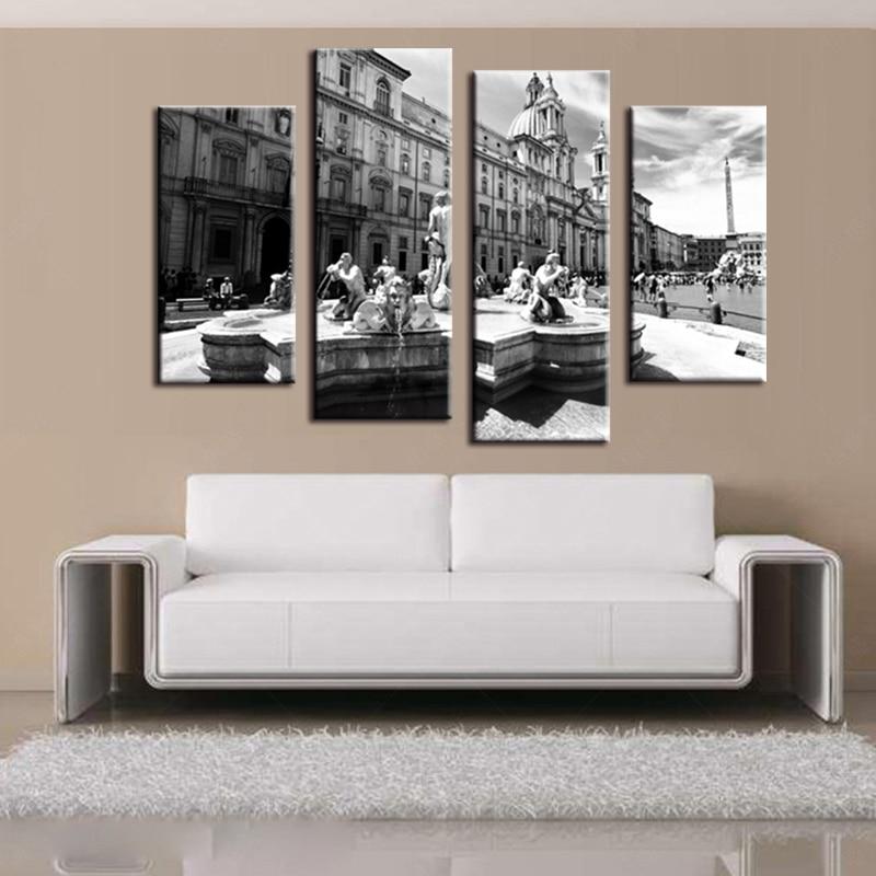 4 panely plakáty tištěné plátno retro Evropské pohled na ulici plátno tisk umění domácí dekorace nástěnné umění obrázek do obývacího pokoje
