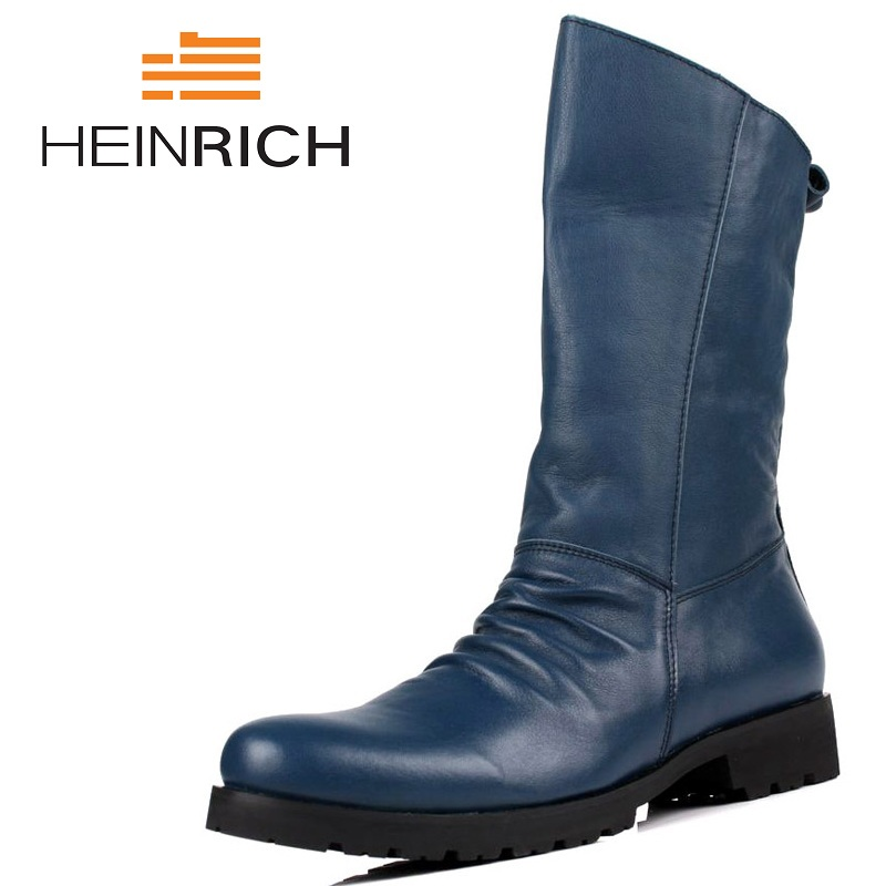 HEINRICH High Quality Genuine Leather Men High Top Martin Boots Black Motorcycle Boots Leisure Men Shoes Botas Mujer Invierno 2017 genuine leather martin boots fur martin high top casual shoes men boots over the knee botas brand motorcycle boots