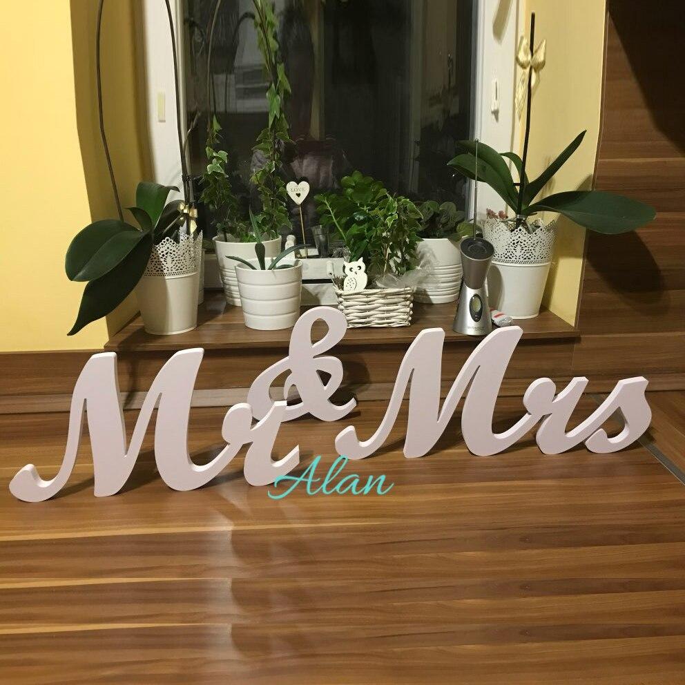 Чистый белый Mr & Mrs свадьба знак деревянная ПВХ и отдельно стоящие свадьбы письма Милая Украшение Стола Знак