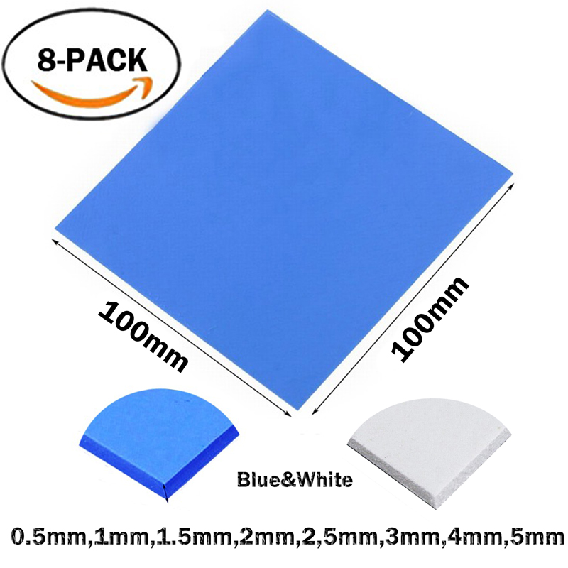 Computer Components Fan Cooling Aggressive 8pcs/set 8size 100x0.5,1,1.5,2,2.5,3,4,5mm Blue White Chip Conductive Silicone Heatsink Thermal Pad Last Style