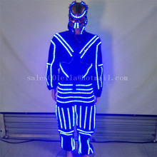 3 Sets Blue Led Luminous Ballroom Costume Clothes With Mask LED Growing Lighting Robot Suits For Event Party Supplies