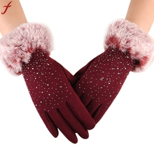 2017 Winter Mittens Women Fashion Warm Thicken Cotton Gloves Winter Girls Elegant Glove For Lady luvas femininas cheap Gloves Mittens Adult Solid feitong Wrist gloves women women gloves Men guantes mujer