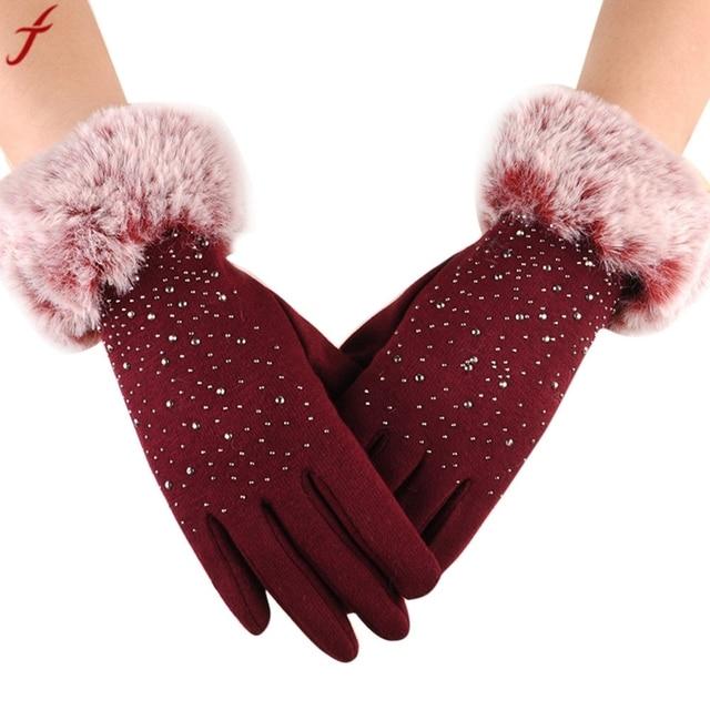 d1107ed662a89 2017 Winter Mittens Women Fashion Warm Thicken Cotton Gloves Winter Girls  Elegant Glove For Lady luvas femininas