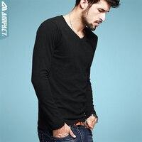 2015 New Cotton Men S Long Sleeve T Shirts V Neck Casual Spring Autumn Men S