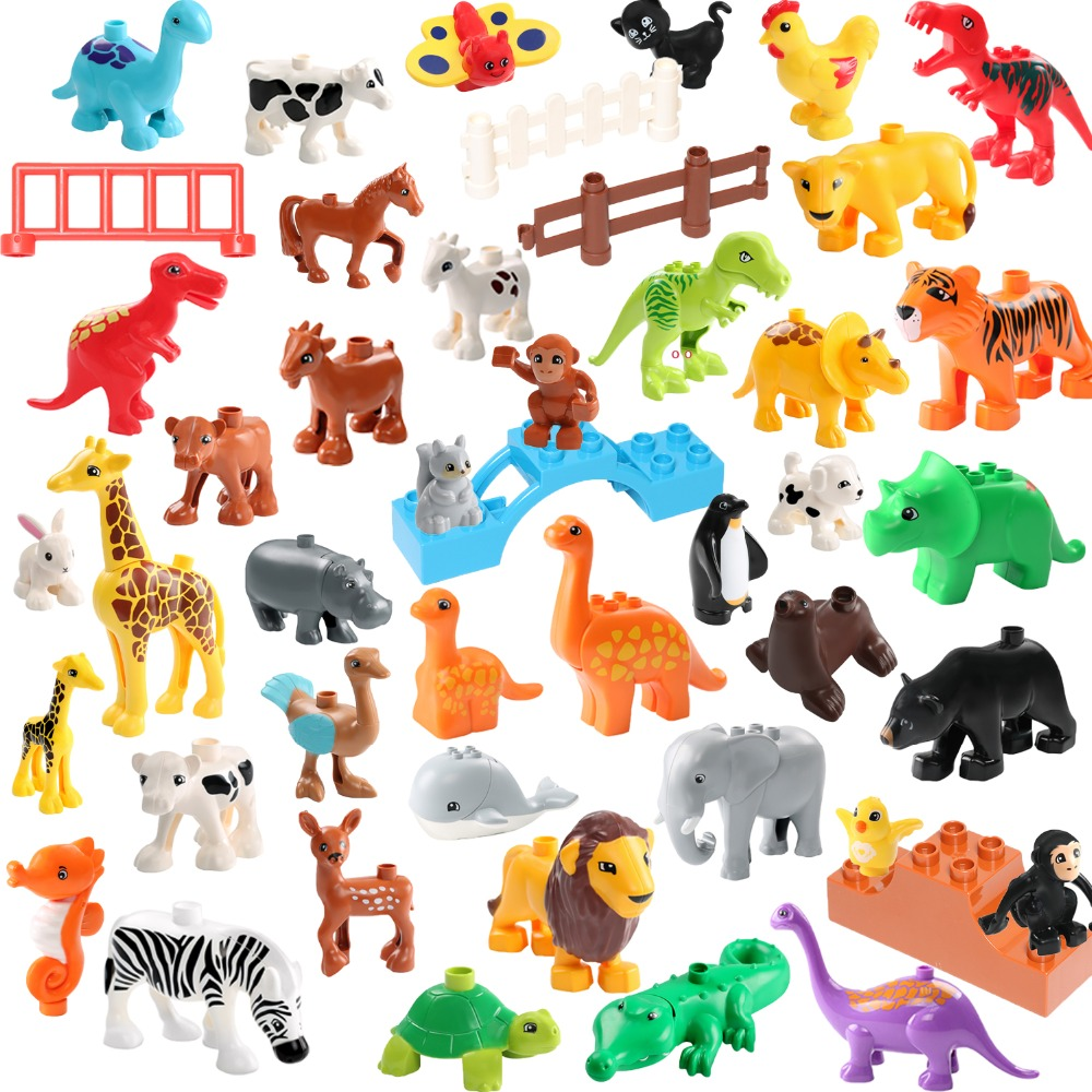 Zoo Animals Figures Building Blocks Original Big Particles Bricks Deer Panda Elephant Penguin Accessory Toys For Children Gift