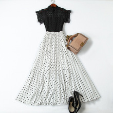 Pleated Dress Women 2019 Spring Summer New Small Stand Collar Short Sleeved Lace Patchwork Polka Dot Fake Two Piece Long Dress long sleeved dress women spring summer 2019 new vintage polka dot stand collar slim a line casual french style dress midi