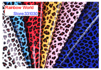 6 Red High Quality Mirror PU Leather Fabric With Leopard Pattern For DIY Car Shoes Bags