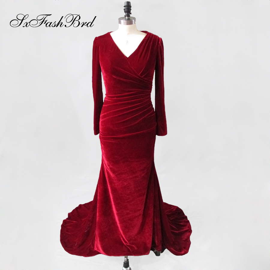 Robe De Soiree Longue Real Red Long Sleeve Velvet Evening Dresses 2019 Formal Evening Gowns Velour Made In China Vestido Longo Less Expensive Weddings & Events