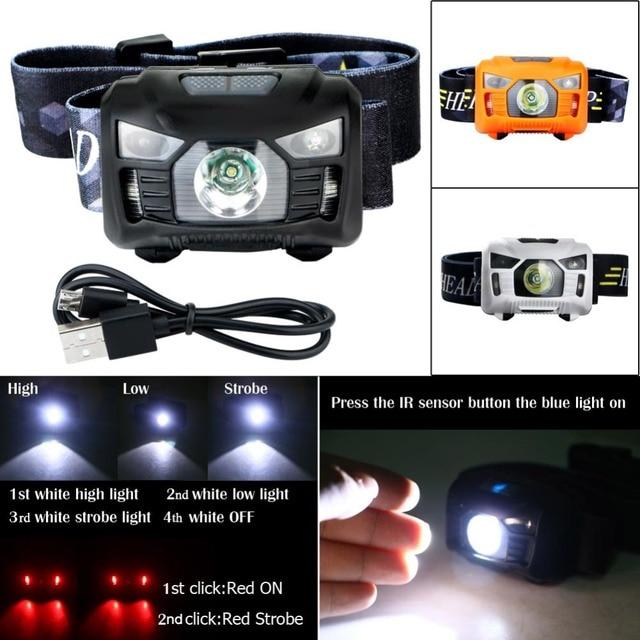 Mini USB recargable LED faro ligero principal IR Sensor de movimiento faro 3000 Lumen antorcha lámpara de Camping linterna